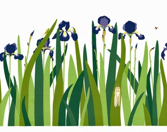 Irises - Hand Pulled Screen Print