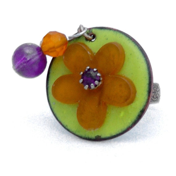 Orange and Purple Flower Statement Ring, Recycled Materials, Adjustable Ring, Flower Ring