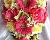 Bridal bouquet PINK YELLOW GREEN Daisy Orchid wedding flowers- Bridesmaids boutonnieres Corsages 17 pc package