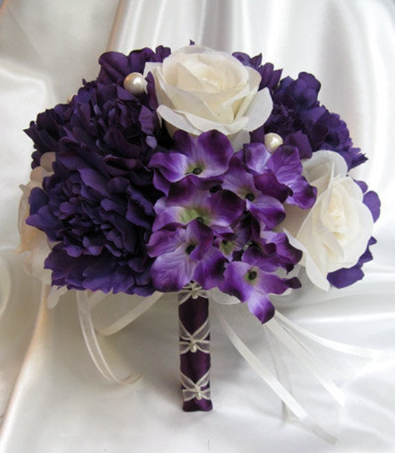 Wedding Bouquet Bridal Silk Flowers PURPLE CREAM PLUM Pearl