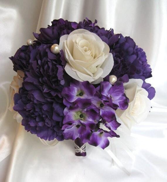 Wedding Bouquet Bridal Silk Flowers PURPLE CREAM PLUM Pearl 17 Pc Package Bridesmaids Bouquets Boutonnieres Corsages RosesandDreams