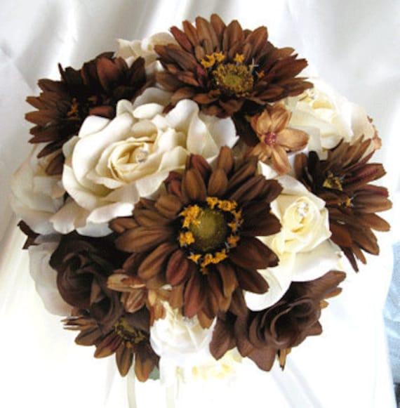 Brown Wedding Flowers: Wedding Bouquet Bridal Silk Flowers CREAM BROWN CHOCOLATE