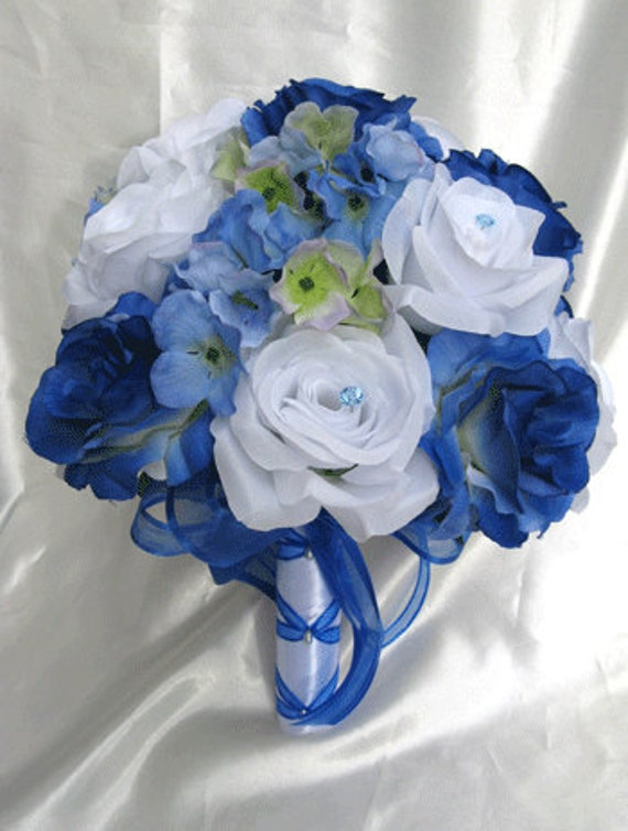 "Wedding bouquet Bridal Silk flowers 17 pieces package ROYAL BLUE WHITE Periwinkle Free shipping Decoration boutonnieres ""RosesandDreams"""