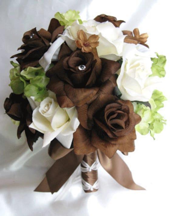 Brown Wedding Flowers: Wedding Bouquet Silk Bridal Flowers BROWN Chocolate CREAM