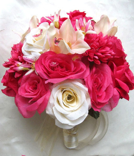Wedding bouquet Bridal Silk flowers Hot Pink FUCHSIA IVORY ORCHID 17 pc package Bridesmaids boutonnieres Corsages