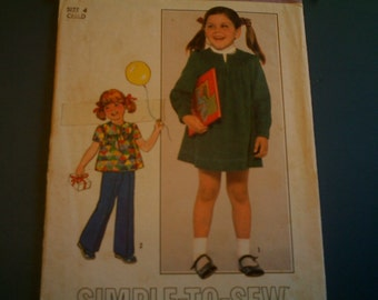 CLEARANCE Vintage Simplicity 8178 Childs Dress or Top and Pants size 4