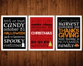 8x10 Holiday Subway Wall Art Prints - Triple Pack Bundle - Halloween, Thanksgiving, Christmas - black & red