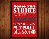 8x10 Baseball Subway Wall Art Print - red