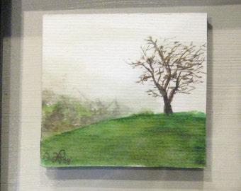 Peace and Quiet - Tree Original Watercolor on Paper by Julie Papple