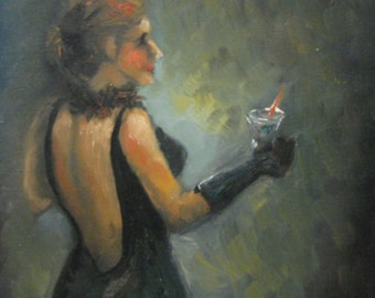 Lady in Black - Cocktail Party - Original Oil Painting on Wood