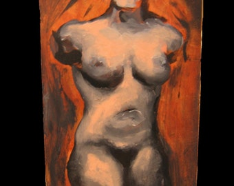 Bella Female Nude Torso 6x12 inches Original Painting on Wood
