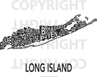 Urban Neighborhood Poster - Long Island - 24 x 36 INVERSE
