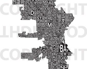 Urban Neighborhood Poster - Milwaukee INVERSE - 24 x 36