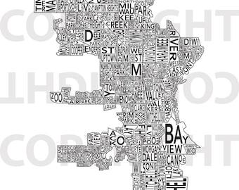 FREE SHIPPING - Urban Neighborhood Poster - Milwaukee - 18 x 24