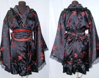 Gothic Lolita Kimono Dress Cosplay Costume Black and Red