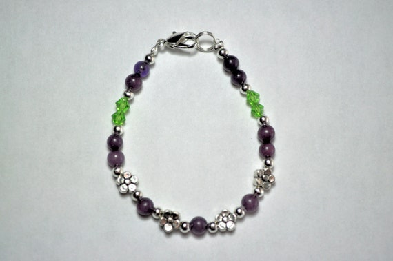 Purple Jade and Green Flower Bracelet