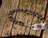 Bracelet - Beaded for Medical Alert ID Tag - Afternoon Elegance