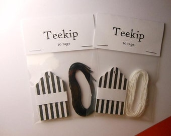 Black and White Striped Tags - Set of 10