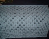 Knitted Blue Crib Blanket