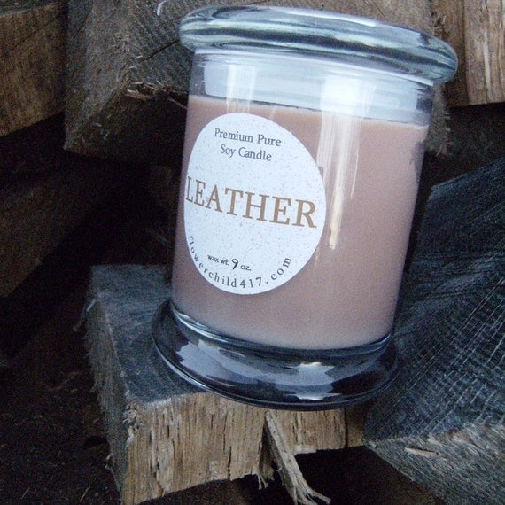 9 oz.   Pure Soy Candle-LEATHER scent  in Metro jar