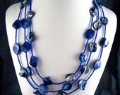 68 Inch Philippine Blue Mother of Pearl Blister Necklace