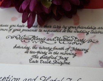 Custom calligraphy for wedding or party invitations