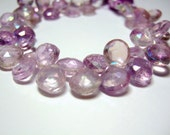 1/4  Strand - Mystic Pink Amethyst Faceted Heart Briolettes (No. 1273)