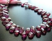 1/4 Strand Rhodonite Garnet Faceted Pear Briolettes (No. 1414)