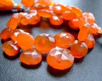 1/2 Strand - Pumpkin Orange Carnelian Faceted Heart Briolettes - (No. 1114)