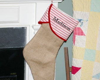 Burlap Christmas Stocking with Red Ticking Cuff and Red Velvet Piping