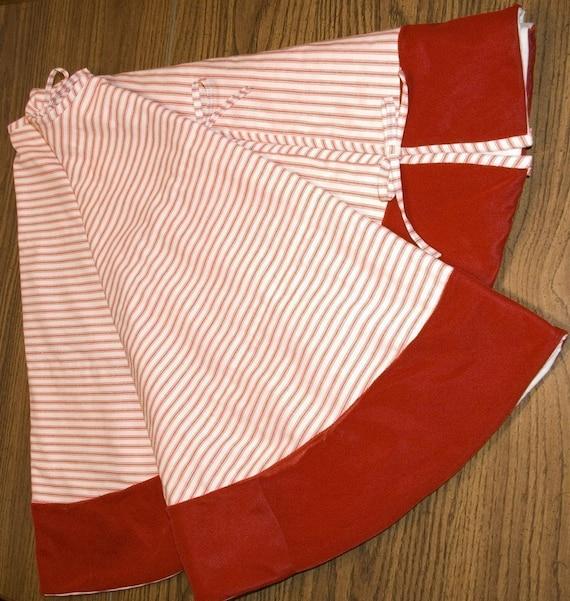 Christmas Tree Skirt Red Ticking And Velvet By Diturpin On
