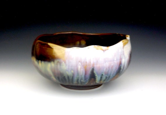 Purple, Blue, and Redwood Brown Serving Bowl