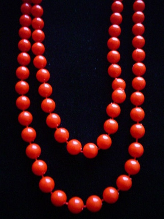 Vintage Beaded Necklace Red One Long Strand