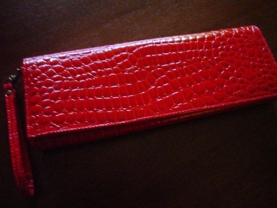 Vintage Clutch Bag Purse Red Mock Crocodile Alligator