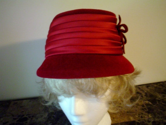 Vintage Hat by Mary Corene New York, Red Velour