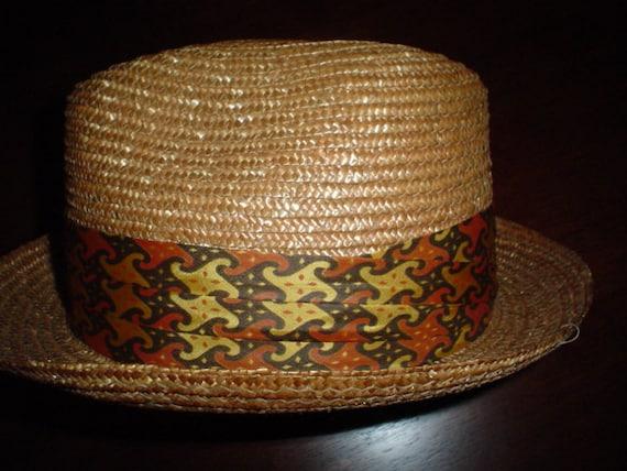 Vintage Straw Hat 1950s Porkpie, Fedora, Stingy Brim