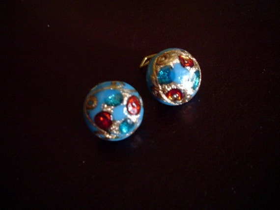 Vintage Earrings- Blue Glass Rounds, with Stones Inset, Murano Glass, Clip On Back