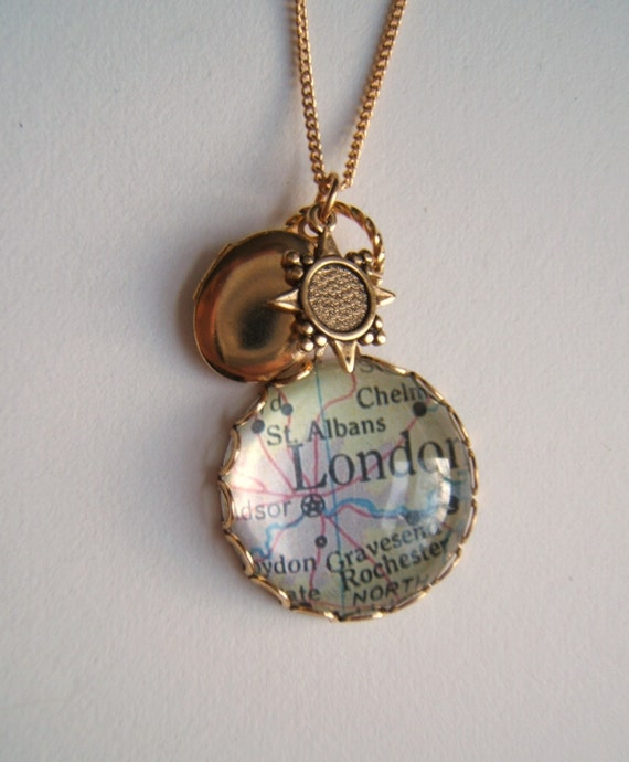 Map Necklace vintage Locket and compass charm by elisabeth phillips jewelry RESERVED for briecheese