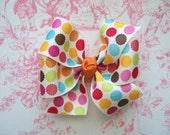Fall polka dot pinwheel bow