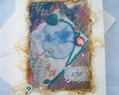 Note Card, Art Quilt Print, Mixed Media - Joy