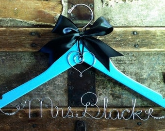 PAINTED Personalized Bridal Hanger, Black, or color of your choice, Custom Wedding Dress Hanger, for Bride