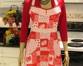 Full apron, retro Style, Patchwork Hearts print in red, white,and pink ,two pockets