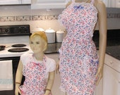 HANDMADE : Mother -daughter,apron set,  retro style, Lucia,in a soft pink floral print,
