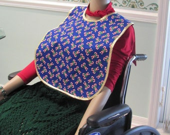 READY TO SHIP : Special Needs Bib,  clothing protector, cover-up, blue holiday, candy cane motif with gold bias trim