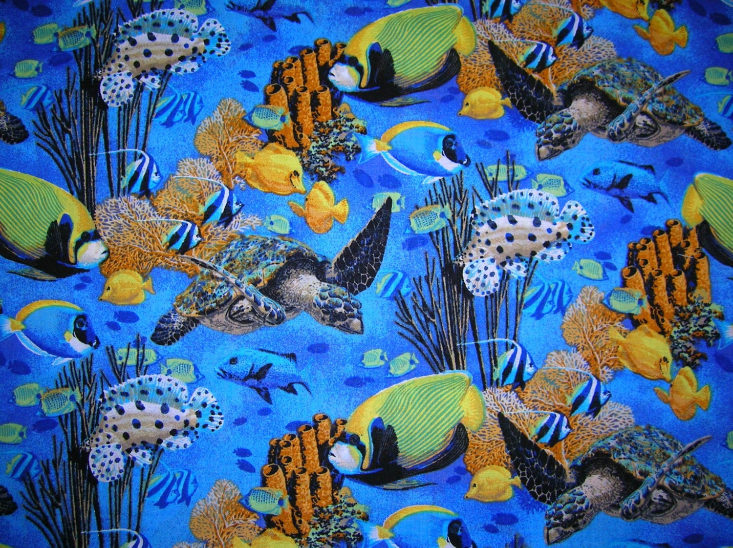 New Salt Water Fish Fabric Bty Sea Turtle By