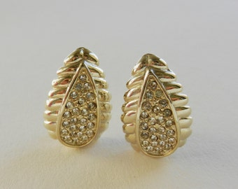 Precious leaves  from Tuscany - 1960s vintage earrings, pave crystal-teardrop earrings clips--art.114-