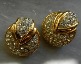 Earrings for the Bride, 1960s Vintage  Italian - gold with pave crystals - stunning and elegant -Art.832 -