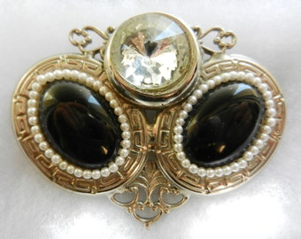 Italian vintage 1950 - original and beautiful brooch Victorian , vintage unique design,micro pearls and cabochons-Art.930