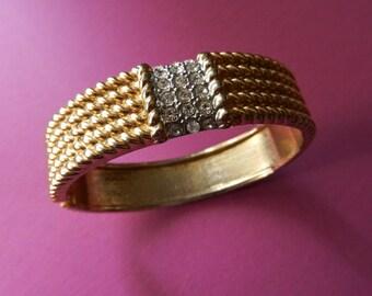Italian Vintage -  Great 1950 vintage bracelet - bangle gold and crystals-Art.990-