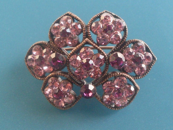Art Nouveau brooch Florence - purple and dark pink crystals-art.721-